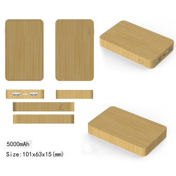 5000mah bamboo wireless power bank