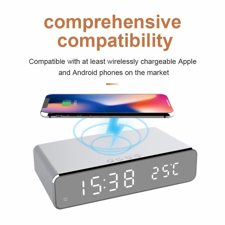 digital alarm clock qi wireless charger 258